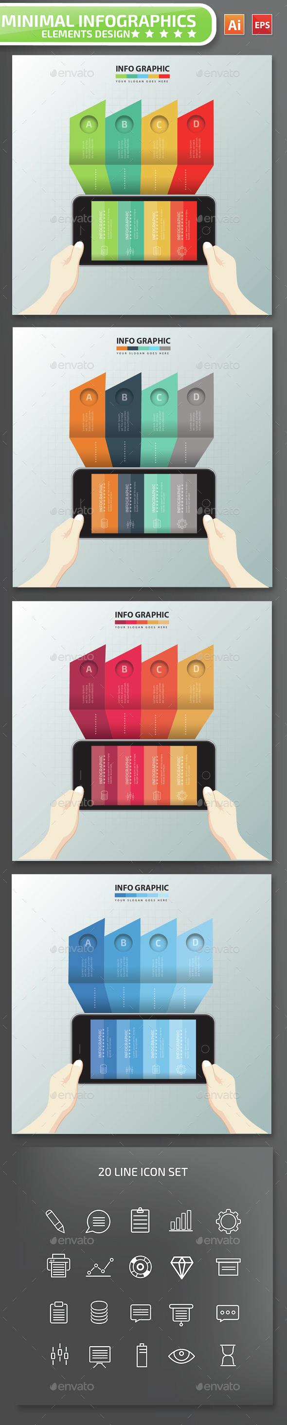 Minimal Mobile phone Infographics Design 4 - Infographics