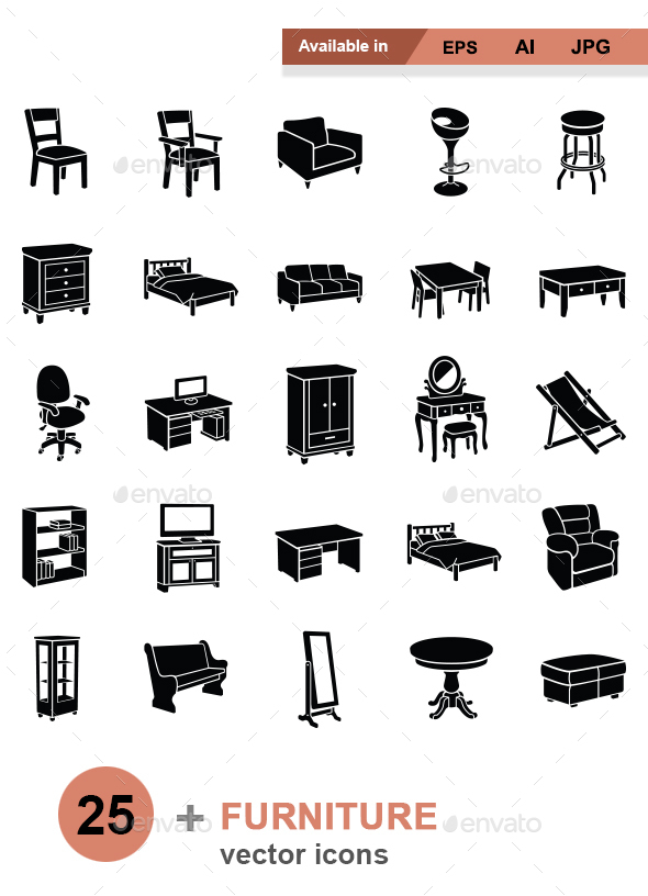 Furniture vector icons - Man-made objects Objects