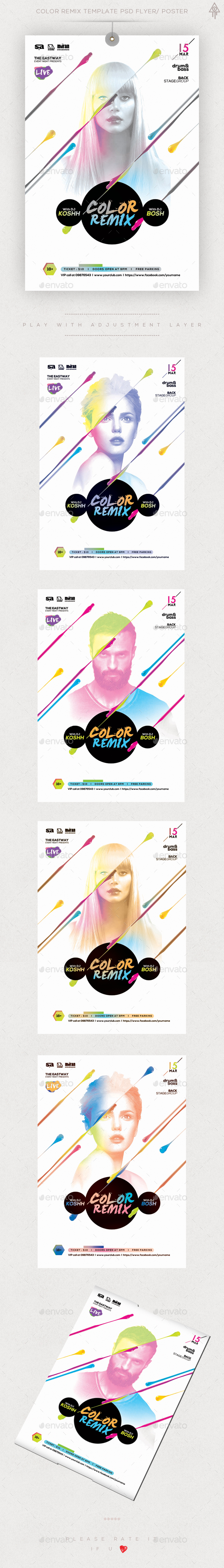Color Remix Guest Dj Flyer Template PSD Poster/ Flyer - Clubs & Parties Events
