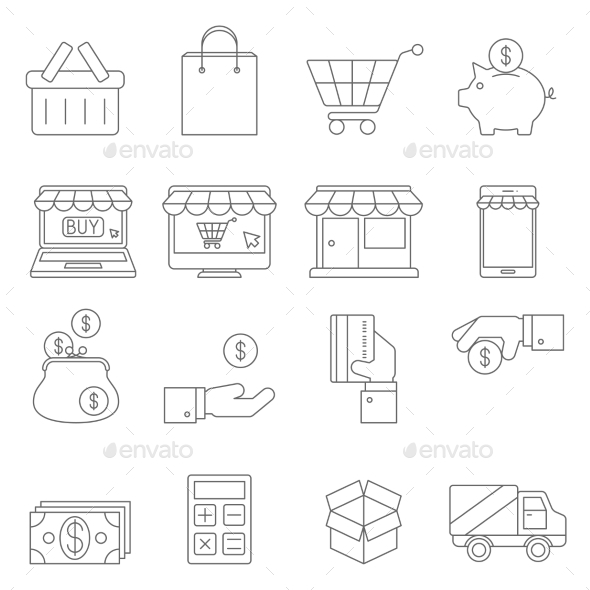 On Line Shopping Thin Icons - Business Icons