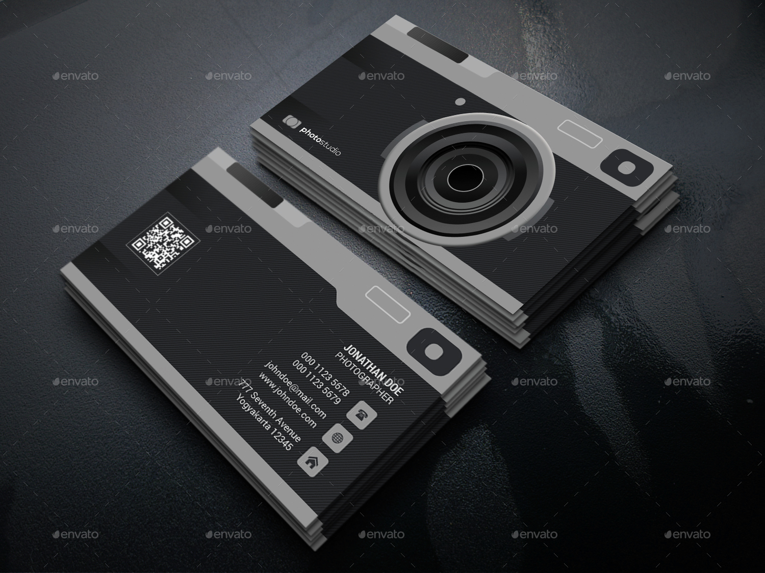 Camera Photography Business Card By GOWES GraphicRiver - Photography business card template
