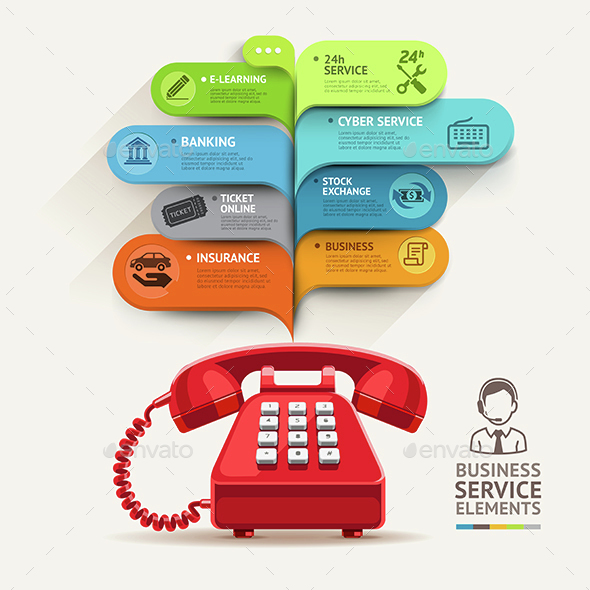 Business Telephone Service Infographic Template. - Infographics