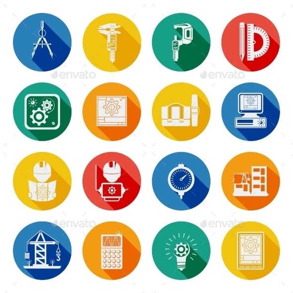 Engineer Flat Round Icons Set Shadow - Technology Icons