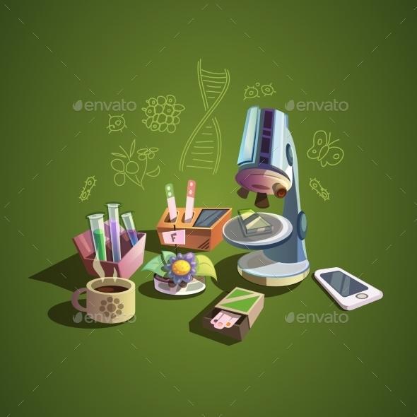 Science Retro Cartoon Set - Miscellaneous Characters