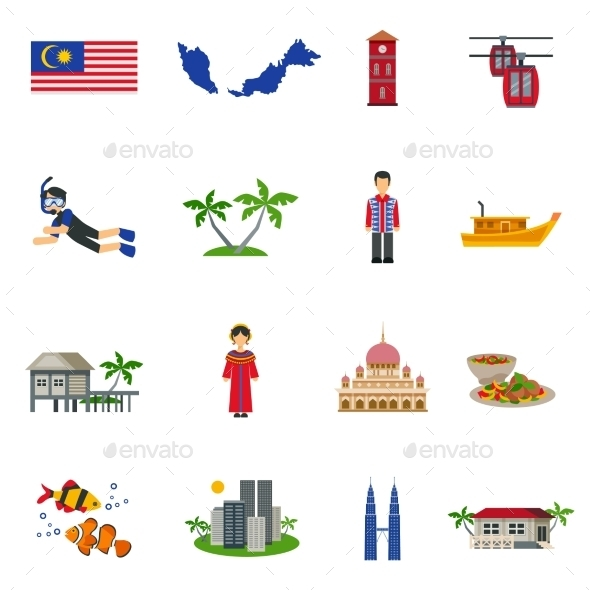 Malaysian Culture Symbols Flat Icons Set - Miscellaneous Icons
