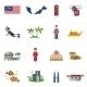 Malaysian Culture Symbols Flat Icons Set