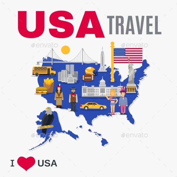 World Travel Agency USA Culture Flat Poster - Travel Conceptual