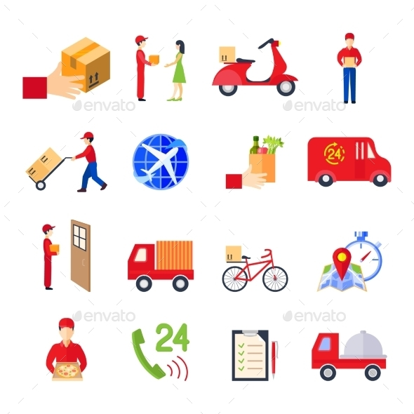 Flat Delivery Icon Set - Business Icons
