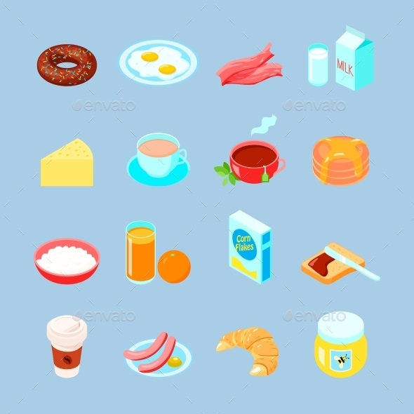 Breakfast Food And Drinks Flat Icon Set - Food Objects
