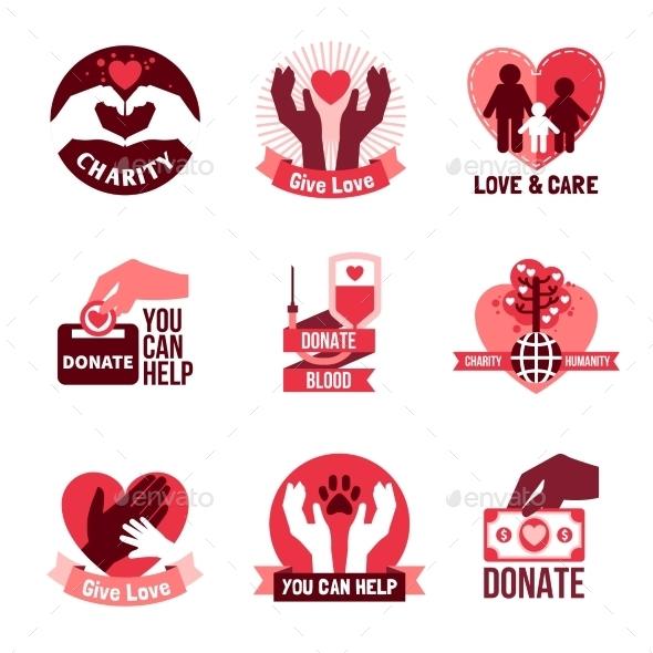Charity Logo Emblems Set  - Health/Medicine Conceptual