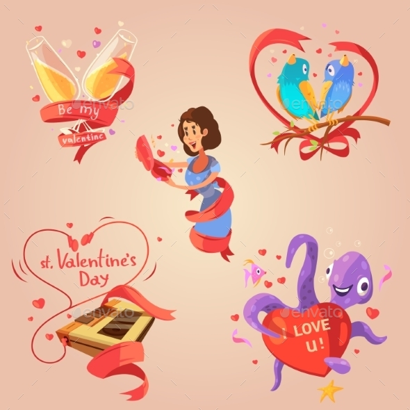 Valentine Day Retro Cartoon Set - Seasons/Holidays Conceptual
