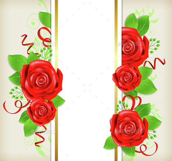 Card with Red Roses - Flowers & Plants Nature