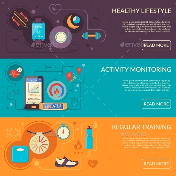 Fitness Tracker Horizontal Banners Set - Business Conceptual