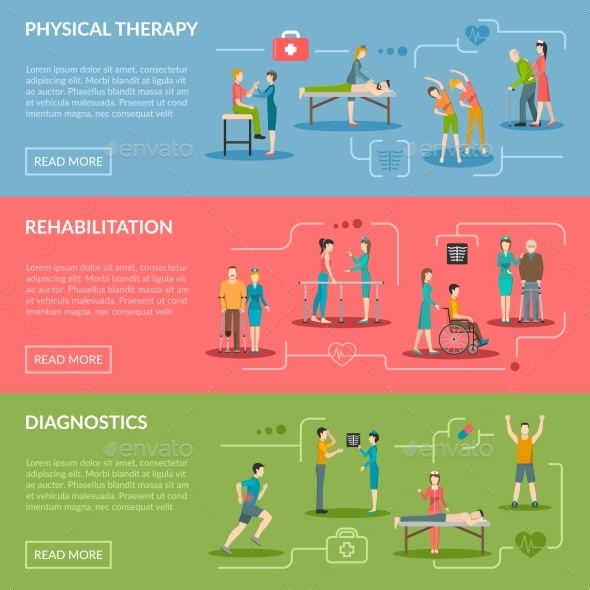 Physiotherapy Rehabilitation Banners - Health/Medicine Conceptual