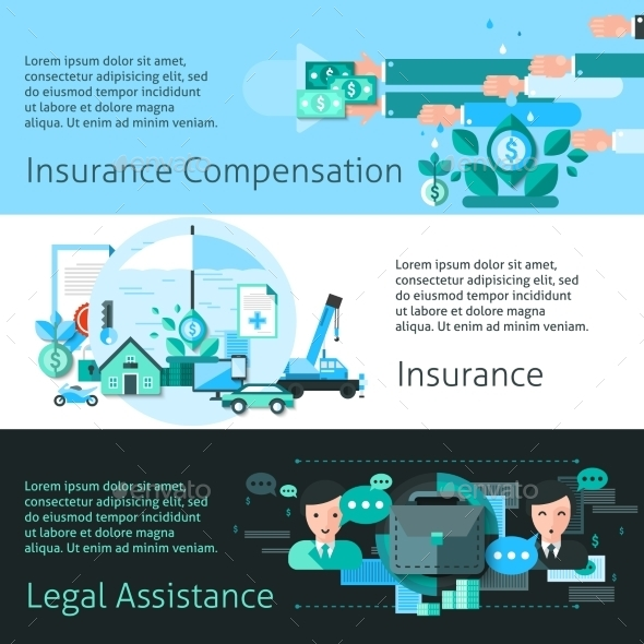 Insurance And Risk Banners Set - Concepts Business