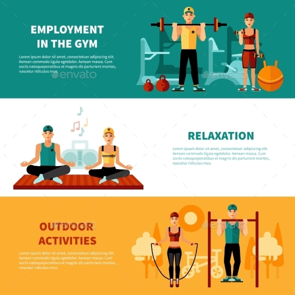 Fitness Horizontal Banners Set - Business Conceptual