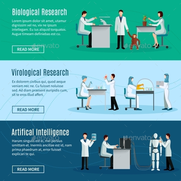 Scientist Horizontal Banners - People Characters