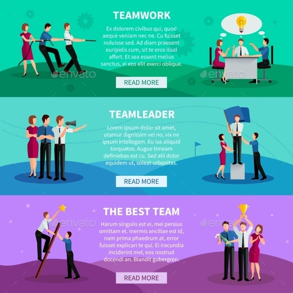 Teamwork Horizontal Banners - Business Conceptual