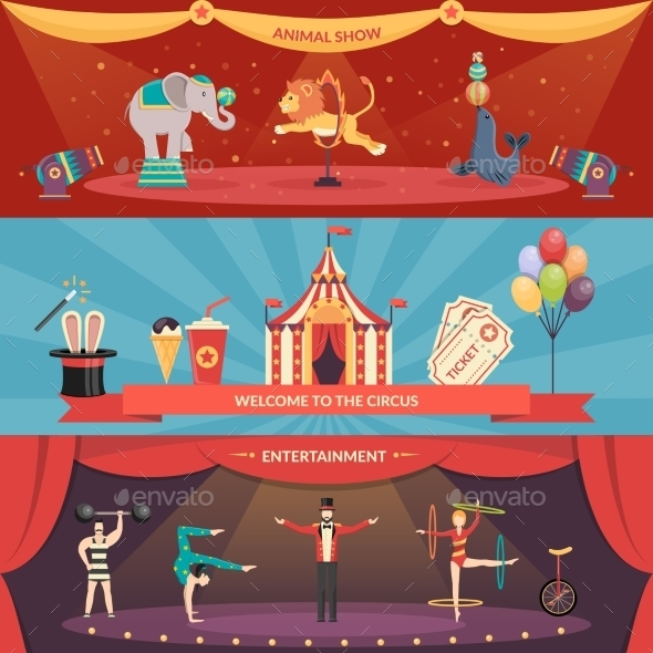 Circus Performance Horizontal Banners - Business Conceptual
