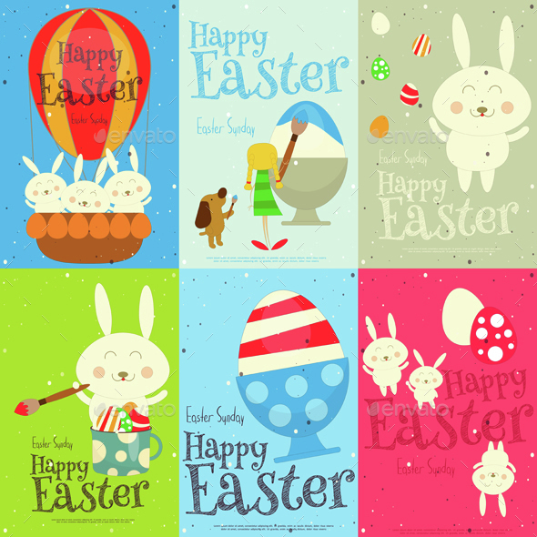 Easter Cards Set - Seasons/Holidays Conceptual