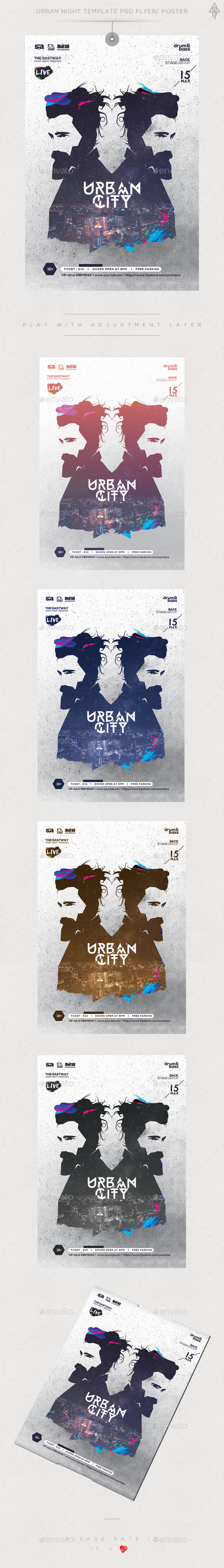 Urban CIty Guest Dj Club Flyer / Poster - Clubs & Parties Events