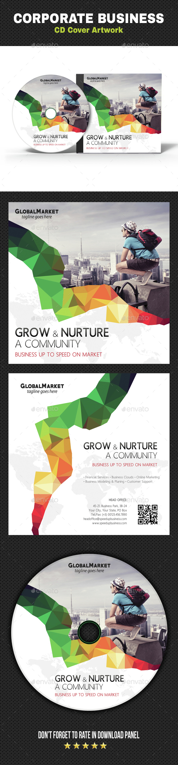 Corporate Business CD Cover Artwork V05 - CD & DVD Artwork Print Templates