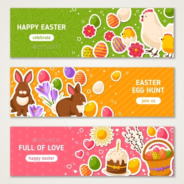 Happy Easter Horizontal Banners Set  - Miscellaneous Seasons/Holidays
