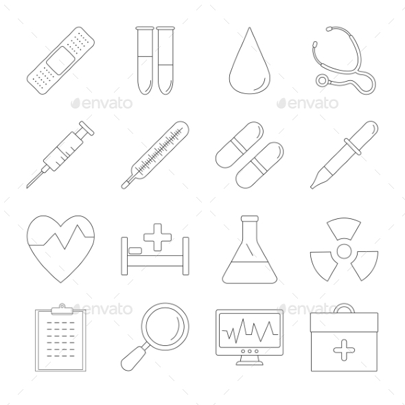 Medicine And Health Line Icons - Miscellaneous Icons