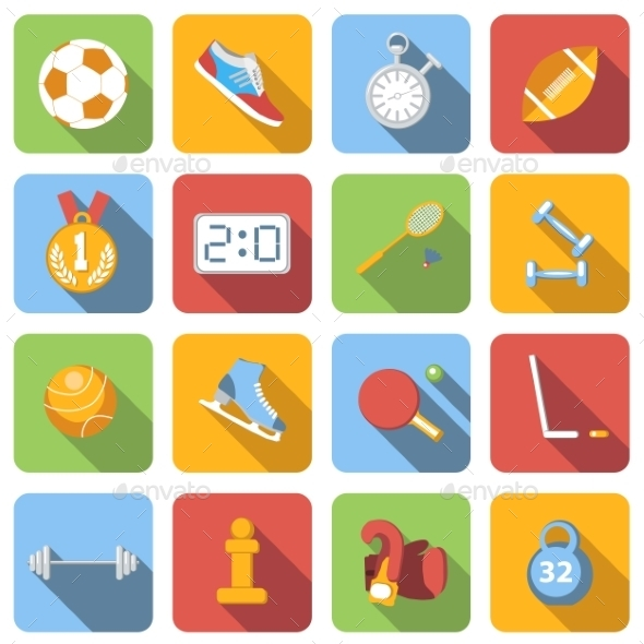 Sport Flat Icons Set - Miscellaneous Icons