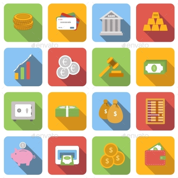 Money Flat Icons Set - Miscellaneous Icons