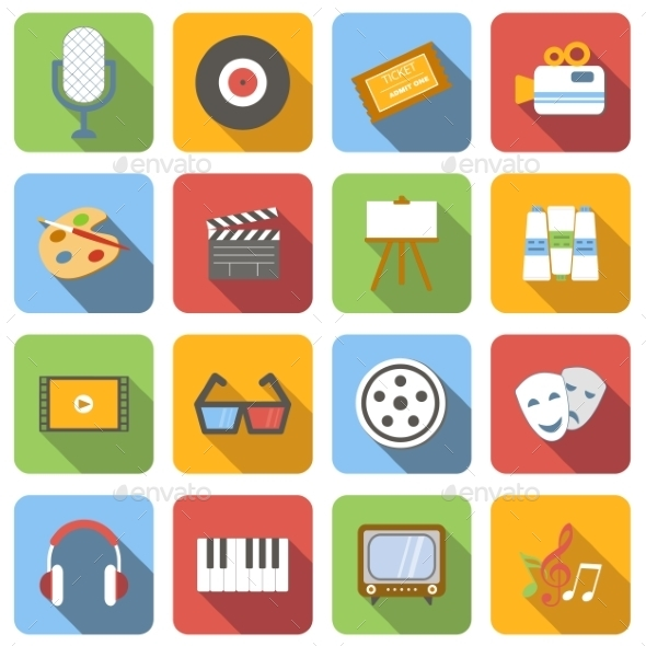 Multimedia Flat Icons Set - Miscellaneous Icons
