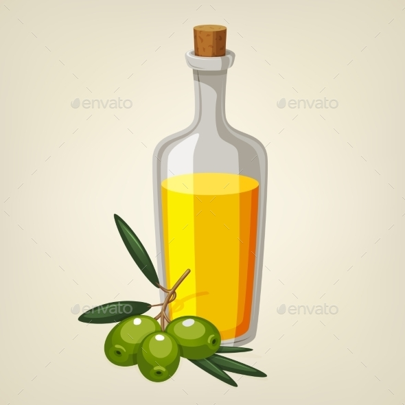 Vector Bottle Of Olive Oil With a Branch Of Green - Food Objects