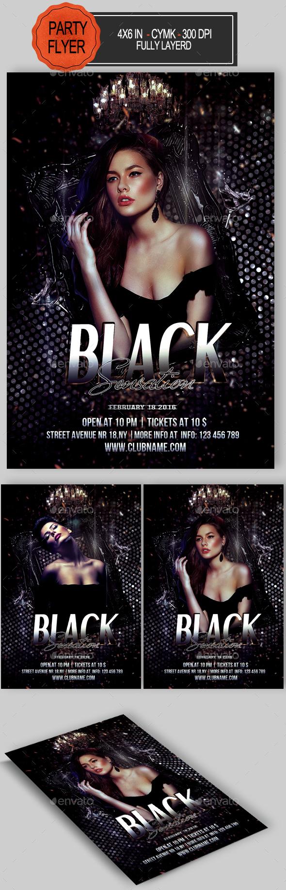 Black Sensation Flyer - Clubs & Parties Events