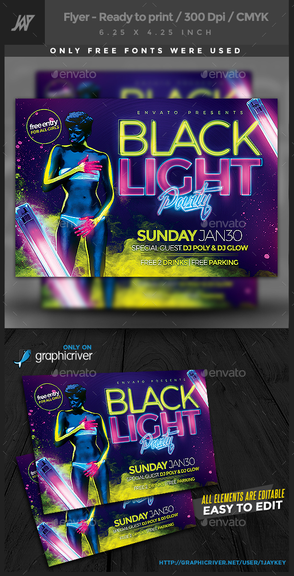 Black Lights Party Flyer - Clubs & Parties Events
