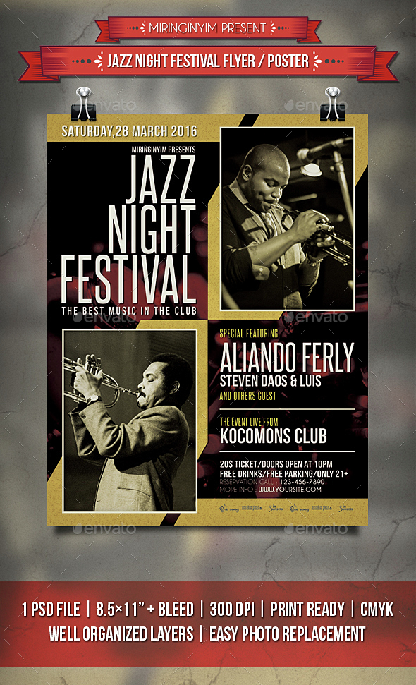 Jazz Night Festival Flyer / Poster - Events Flyers