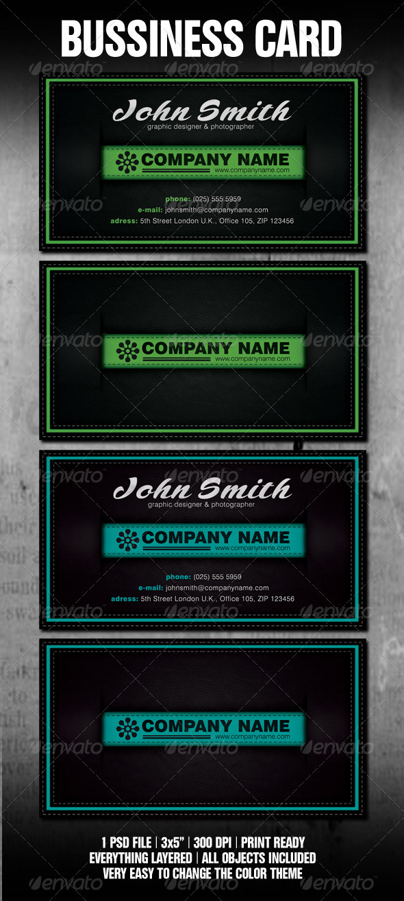 Stitched Black Leather Business Card Template - Corporate Business Cards
