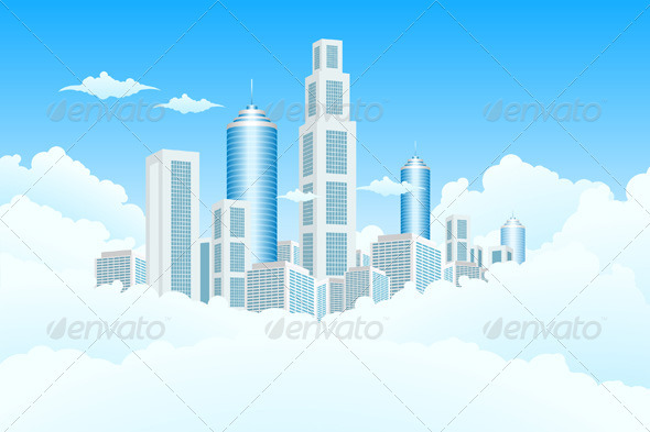 New Modern City in Clouds - Backgrounds Business