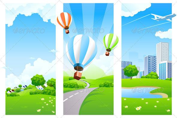 Conceptual Vertical Green Banners - Nature Conceptual