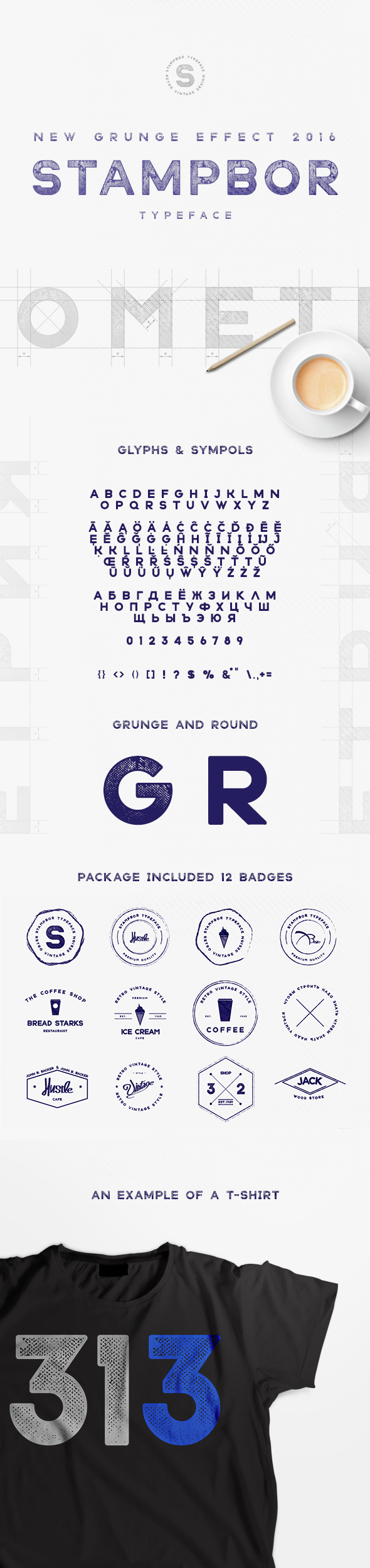 Stampbor Typeface - Grunge Decorative