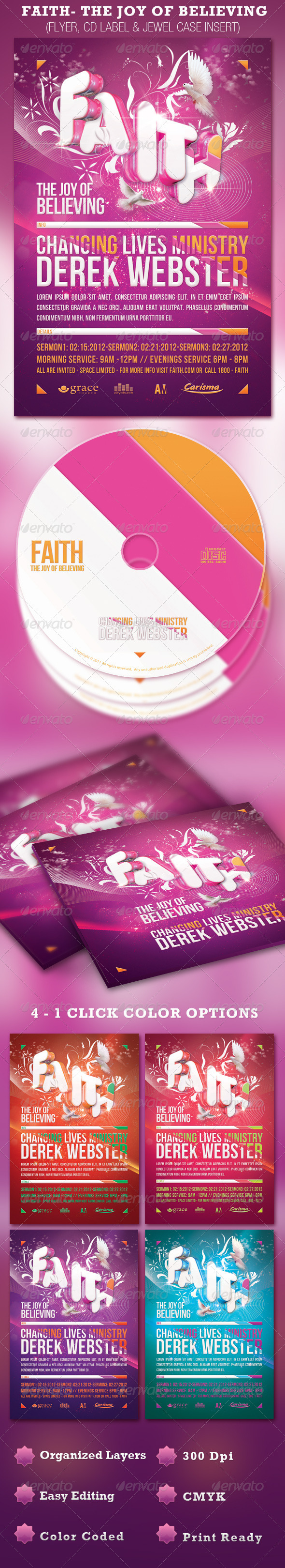 Faith Church Flyer and CD Template - Church Flyers