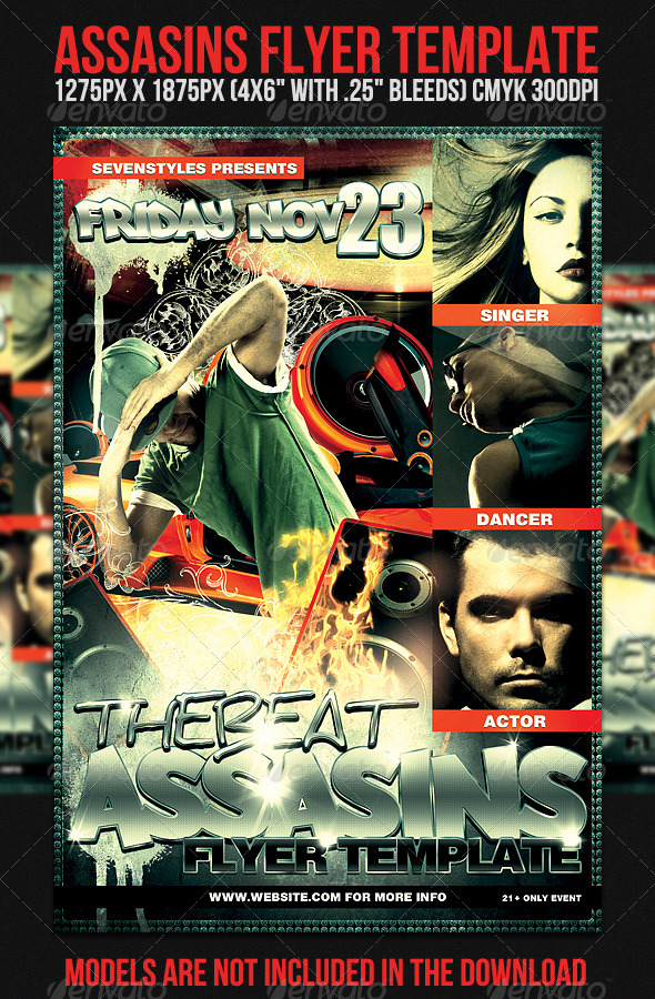 Assasins Flyer Template - Clubs & Parties Events