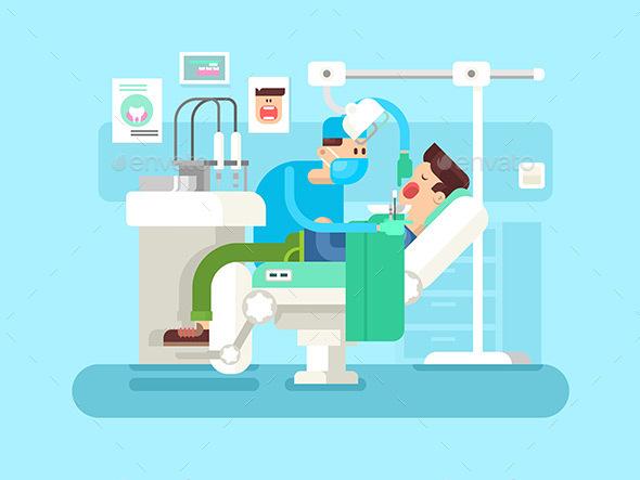 Dentist Treats a Patient - Health/Medicine Conceptual