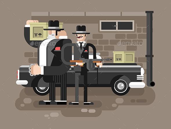 Mafia Man Character - People Characters