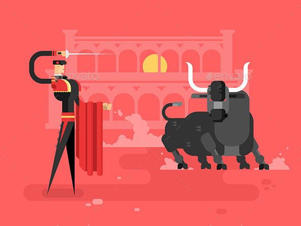 Bullfighting Charcter Man - Characters Vectors