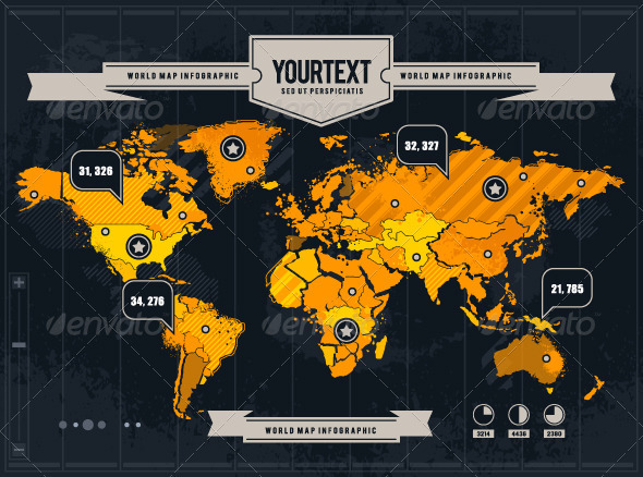 vector world map with grunge and infographic elements infographics