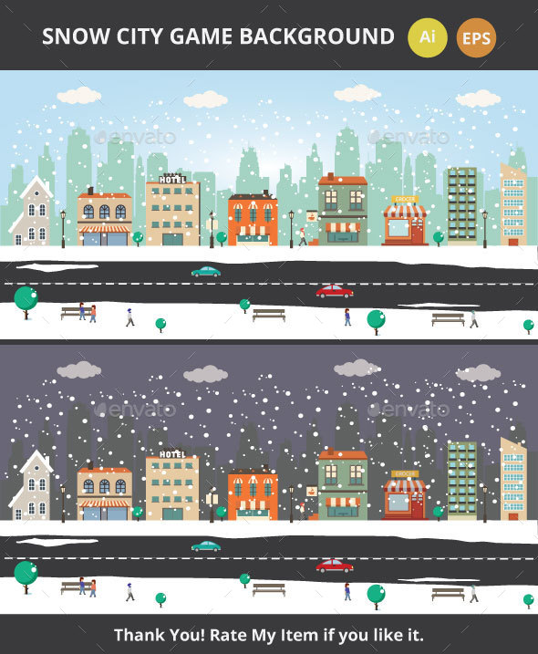 Snow City Game Background - Backgrounds Game Assets