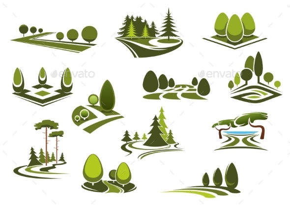 Forest, Public Park And Garden Landscapes Icons - Landscapes Nature