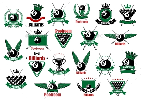Billiards, Pool And Snooker Sport Icons - Sports/Activity Conceptual