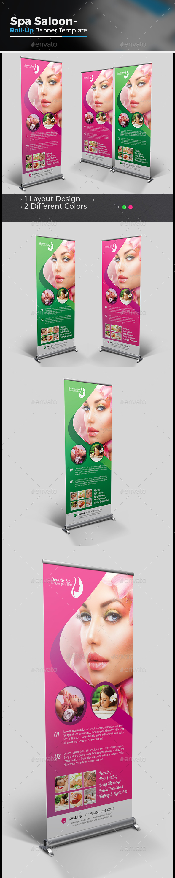 Beauty Salon & Spa - Roll-Up Banner - Signage Print Templates