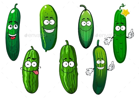Cartoon Ripe Green Organic Cucumber Vegetables  - Food Objects